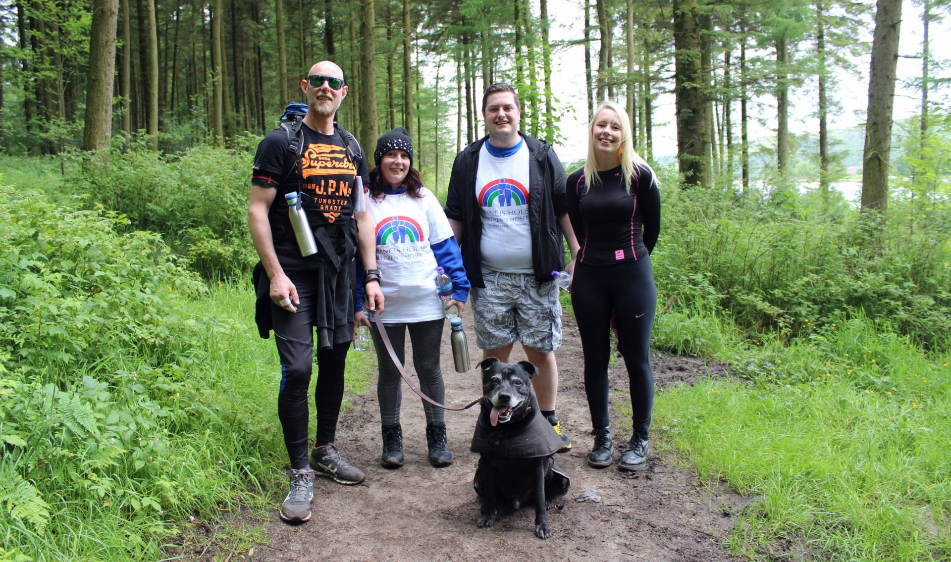 Family and Dog in Macclesfield Forest on the 2017 Cheshire Three Peaks Challenge