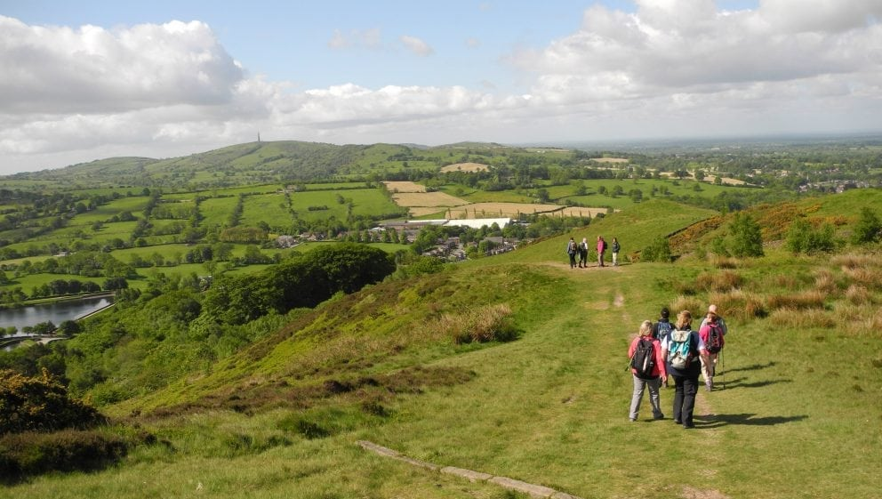 View of walkers heading from Tegg's Nose to Trentabank