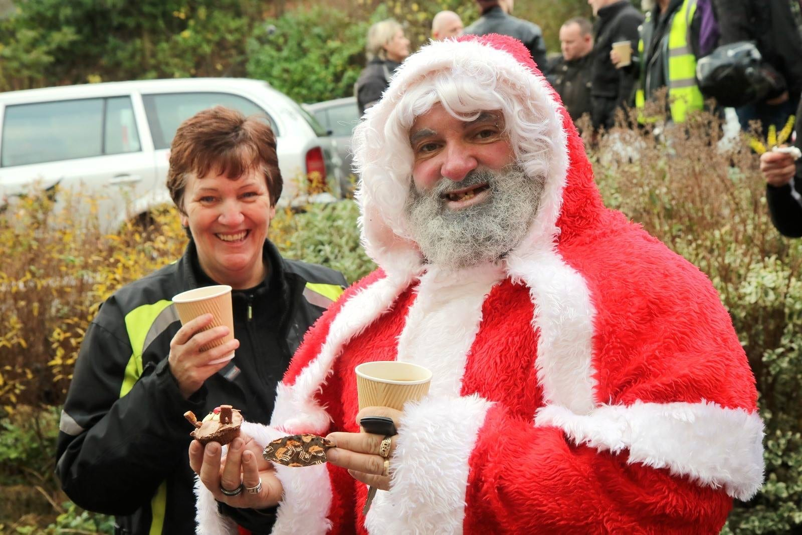 Gareth Barcode Richards dresed as Santa for the Roughleys Bikers Toy Run