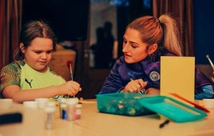 Manchester City women's team players at Francis House