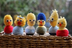 Simpsons knitted chicks