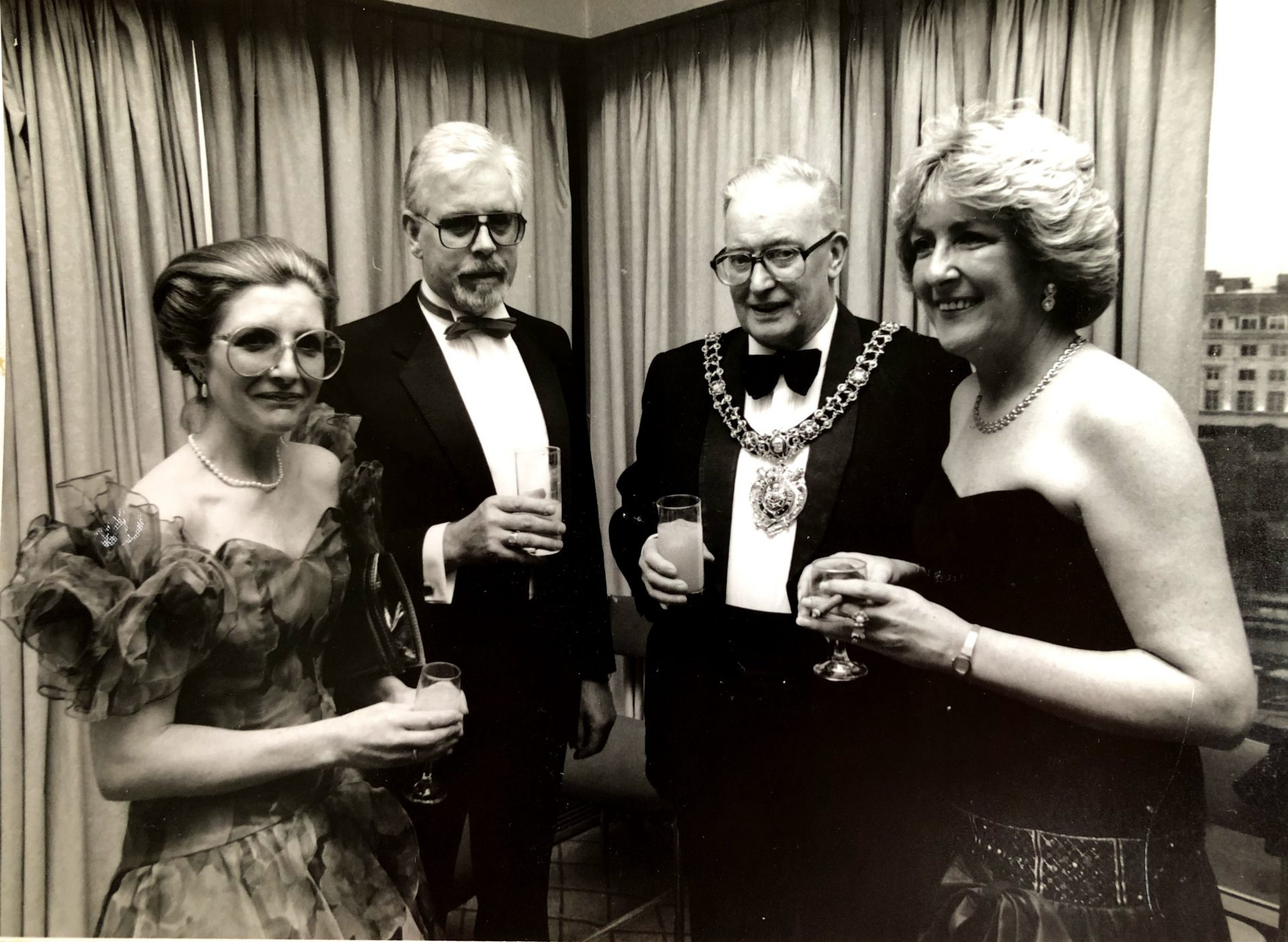 Black and White photo of people at a ball